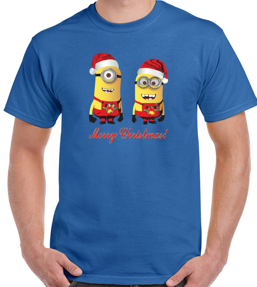 Xmas t shirt design - Merry Christmas Mens T Shirt Minions Graphic Design Printed Cotton Funny Tee Shirt Minion Xmas Gift Present Men Top Size S 3xl In T Shirts From Men S