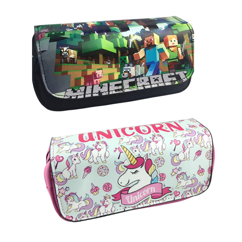 Minecraft Pencil Case for Boys Girls School Pencils Case Unicorn Big Large Capacity Pen Box PencilCase Cute Stationery Supplies cute girl penalty pencil case with lock big capacity pu korean stationery for girls pen bag pouch pencilcase school supplies