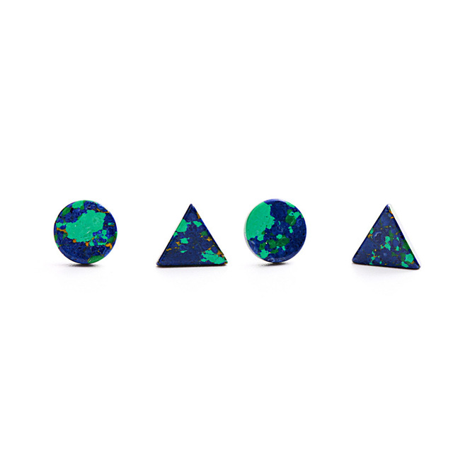 585a62148 earth triangle round earrings 100% 925 Sterling silver Jewelry fashion  Hypoallergenic Stud earrings for women gift