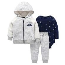 Sonbahar kış bebek giysisi uzun kollu ceket fermuar + pamuk bebek tulumu + pantolon 3 parça giyim seti 6 24m bebek erkek kız rahat kostüm