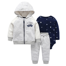 autumn winter baby outfit long sleeve coat zipper+cotton bodysuit+pant 3 piece clothing set 6 24m baby boy girl casual costume