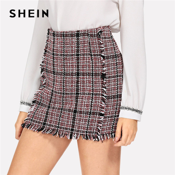 SHEIN Multicolor Office Lady Elegant Frayed Edge Trim Plaid Tweed Mid Waist Skirt 2018 Autumn Highstreet Fashion Women Skirts
