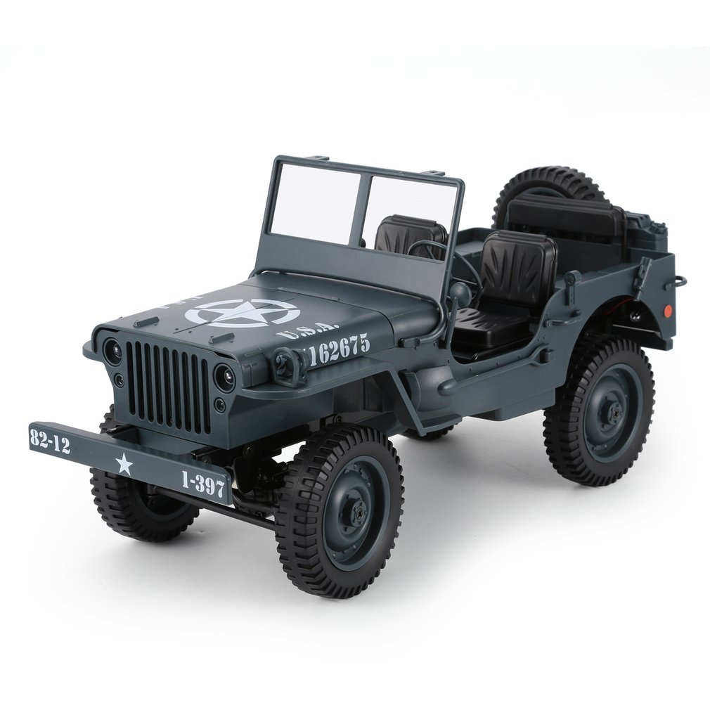 C606 1:10 RC Car 2.4G 4WD Convertible Remote Control Light Jeep Four-Wheel Drive Off-Road Military Climbing Car Toy Kid Gift
