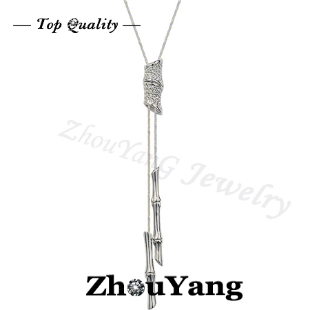 M027 Banboo Crystal  Sweater Chain  Platinum Plated Pendant Necklace Jewelry Austrian Crystal  Wholesale