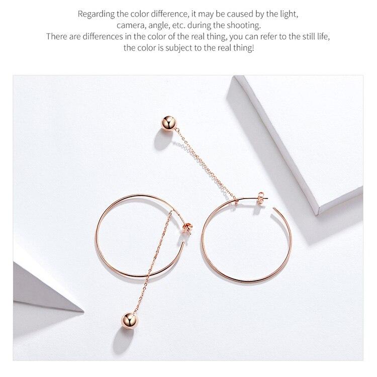 HTB1rBIFVNTpK1RjSZR0q6zEwXXaI BAMOER Popular 100% 925 Sterling Silver Big Circle Round Long Chain Drop Earrings for Women Rock Style Earrings Jewelry SCE569
