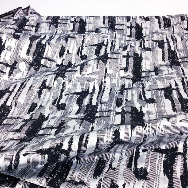 1 yard argintiu metalic Cross Jacquard Brocade Fabric pentru rochie, - Arte, meșteșuguri și cusut - Fotografie 2