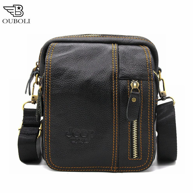 2016 New 100% Genuine Leather Bag Fashion Designer Crossbody Bags Design Male Bag Cowhide Leather Small Messenger Bag for Man