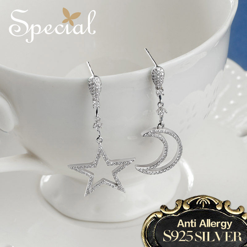 Special Fashion Asymmetrical Design Drop Earrings 925 Sterling Silver Star & Moon Earrings Jewelry Gifts for Women S1695E chic plus size star print pocket design asymmetrical women s dress