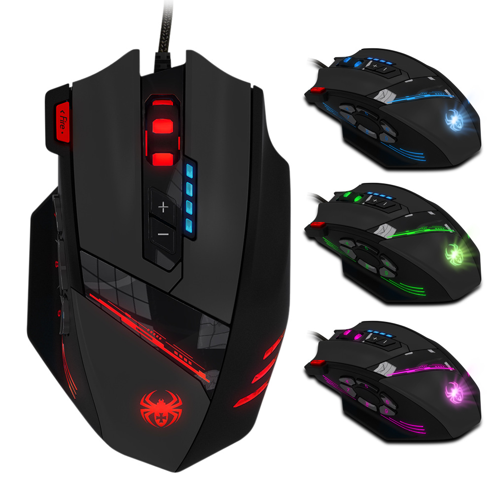 12-key Seven-color Breathing Light Macro Programming 4000dpi Mechanical Gaming Mouse ...