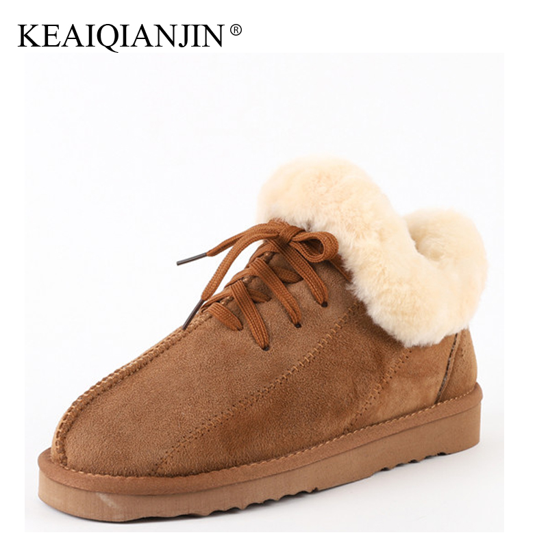 KEAIQIANJIN Woman Winter Wool Snow Boots Genuine Leather Shearling Flats Shoes Black Brown Gray Fur Platform Ankle Boots 2017 sexemara fashion handwork genuine leather real wool fur women shoes loafers peas shoes woman warm winter flats shoes