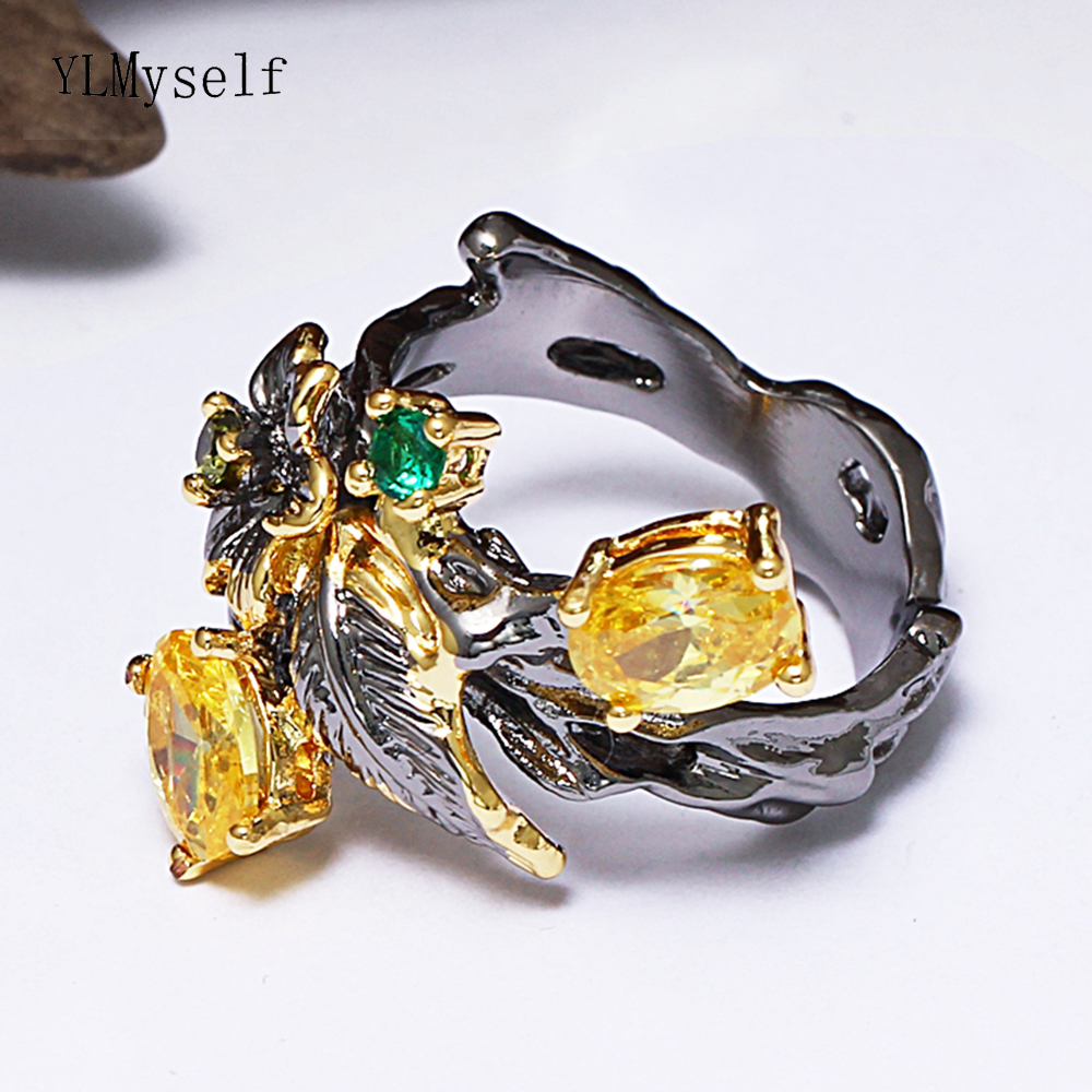 2019 Winter New Bright Champagne Oval Crystal Rings Autumn Fruit Jewelry Top Quality Beautiful Leaf Ring For Women