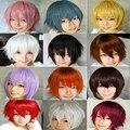 Promoção homens Preto Branco anime cosplay Peruca encaracolado curto, de alta qualidade japonês kanekalon marrom amarelo Anime peruca de cabelo sintético
