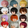 Promotion short curly men Black White anime cosplay Wig,high quality japanese kanekalon brown yellow synthetic hair Anime peruca
