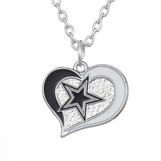 10 pcs enamel heart football team logo dallas cowboys pendant 10 pcs enamel heart football team logo dallas cowboys pendant necklace sport charm link chain necklace aloadofball