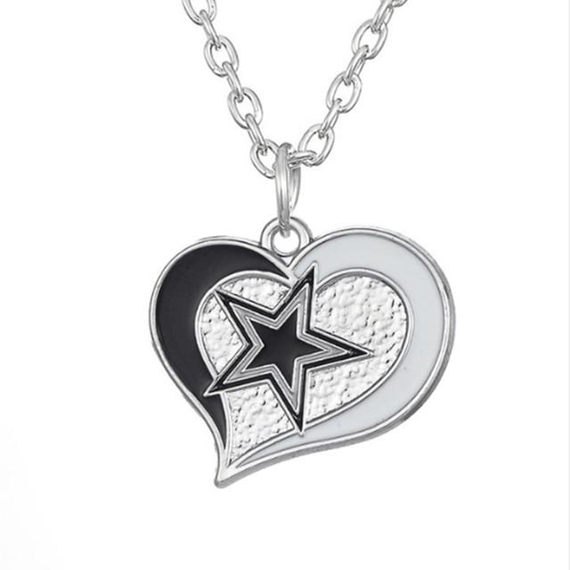 10 pcs enamel heart football team logo dallas cowboys pendant 10 pcs enamel heart football team logo dallas cowboys pendant necklace sport charm link chain necklace aloadofball Images