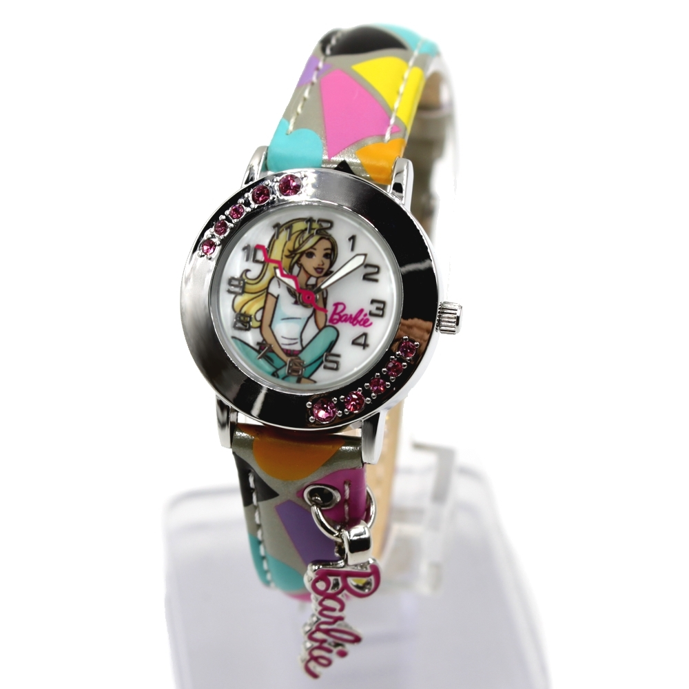Light Gray Colourful Band Round PNP Shiny Silver Watchcase Water Resist Kids Watch KW075F