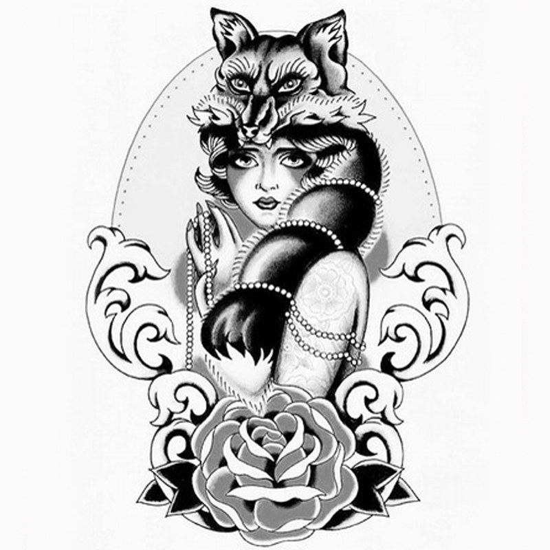 fox femal temporary tattoo stickers sexy woman sleeve tattoo rose Bright Color Sleeve Tattoos fox femal temporary tattoo stickers sexy woman sleeve tattoo rose woman taty for men women art body sticker
