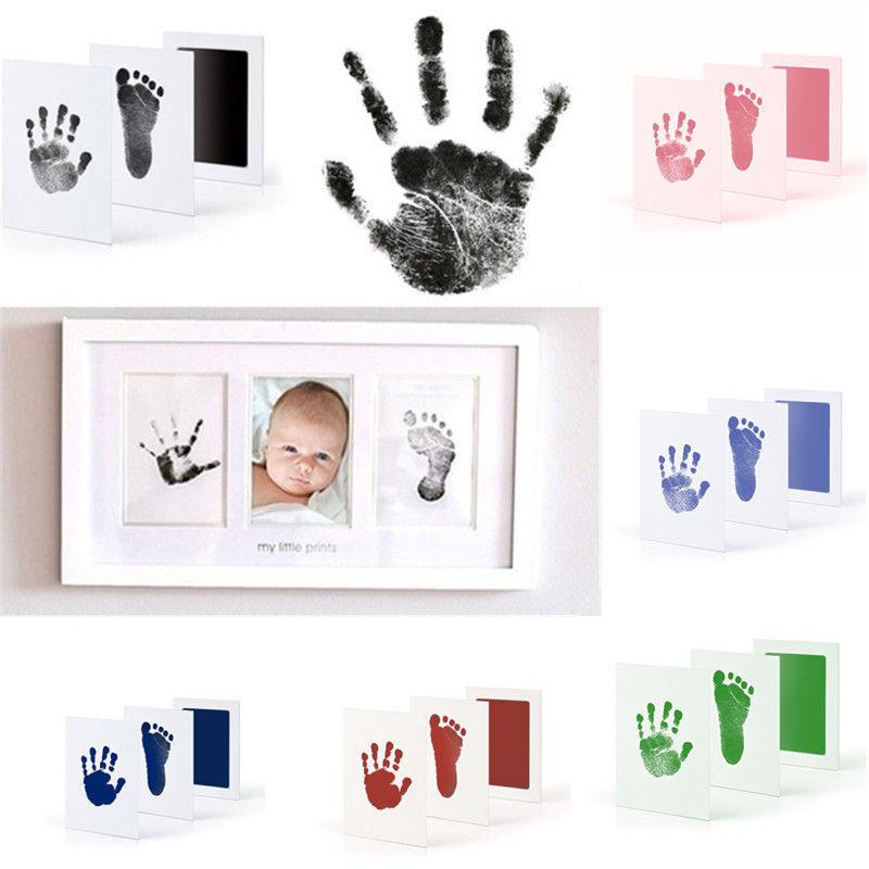Baby Newborn Handprint Footprint Imprint Clean Touch Ink Pad Photo Frame Kit Hot