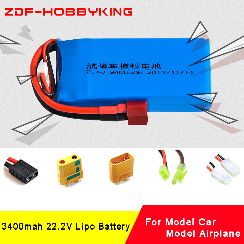 ZDF lipo battery 6S 22.2v 3400mAh 20C Max 40C RC LiPo battery For RC Helicopter Airplane Quadrotor Drone Car RC Li-ion battery ypg 5200mah 14 8v 40c 4s lipo li po lipoly battery for rc helicopter