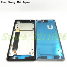 New For Sony Xperia M4 Aqua E2303 E2333 E2353 Housing Front LCD Bezel Plate Frame Chassis + Dust Plug Port Cover +Sticker
