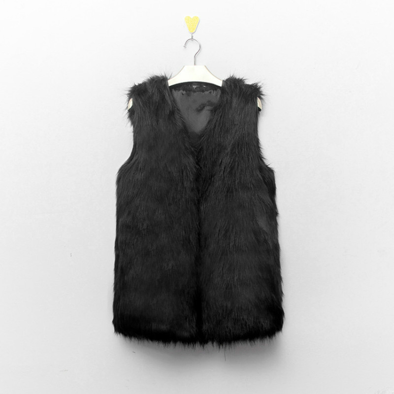Six Senses 2017 Autumn Winter New Fashion Women V Neck Sleeveless Warm Slim Long Faux Fur Coat Gilet Fourrure Femme Vest HLM0002