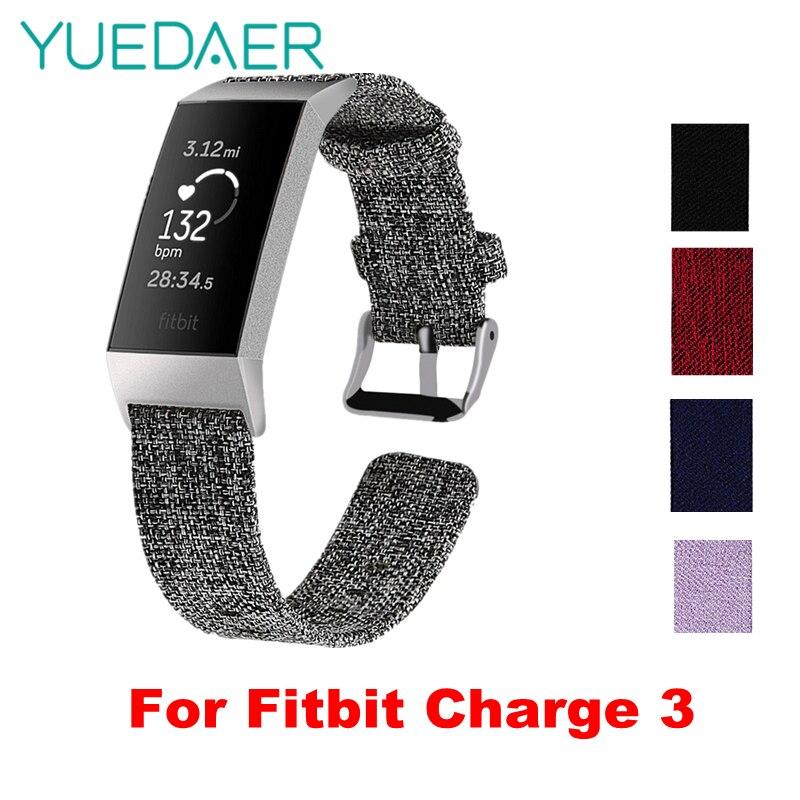YUEDAER tissu Nylon toile montre sangle pour Fitbit Charge 3 bande Bracelet de montre Bracelet de remplacement pour Fitbit Charge 3 BraceletYUEDAER tissu Nylon toile montre sangle pour Fitbit Charge 3 bande Bracelet de montre Bracelet de remplacement pour Fitbit Charge 3 Bracelet