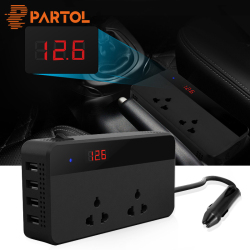 Partol Multifunctional Car Inverter Auto Inverter 12v To 220W 220v 50Hz 12 220 Cigarette Lighter Plug Power Converter With 4 USB