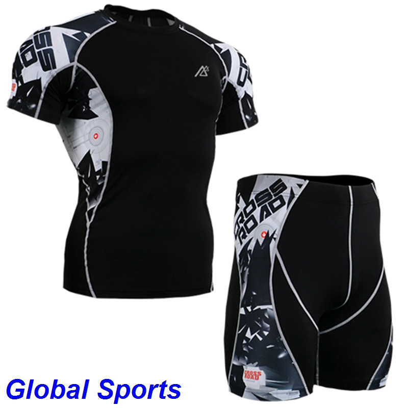 Men Running Bicycle Base Layer Bodybuilding Compression Shirt shorts basketball suits for men sport compression shirt and shorts