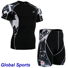 Men Running Bicycle Base Layer Bodybuilding Compression Shirt shorts basketball suits for men sport compression shirt