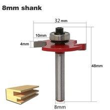 """1pc 8mm Schacht """"T"""" Type Biscuit Voegwerk & Slotting Cutter T Slot Joint Hout Router Bit met Lager Frezen Voor Hout"""