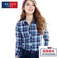 Camisa de Tela Escocesa Femenina de las mujeres de Algodón Camisa A Cuadros de Manga Larga Blusa de La Manera Da Vuelta-abajo blusas de Cuello Femininas M-XXL