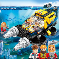 Legoing City Diving Spar Shark Mining Vortex Ascending Car Submarine Enlighten 427pcs Building Blocks Bricks Toys For Children