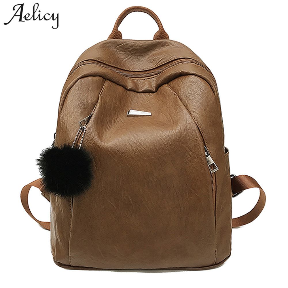 Aelicy New Leather Backpack Women Bags Preppy Style Backpack Girls School Bags Zipper Leather Backpack Bookbags for SchoolAelicy New Leather Backpack Women Bags Preppy Style Backpack Girls School Bags Zipper Leather Backpack Bookbags for School