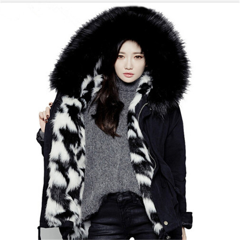 2017 Winter Jacket Women Thicken Warm Jackets  Wool Liner Large Faux Fur Collar Parka Hooded Outerwear Female Coat