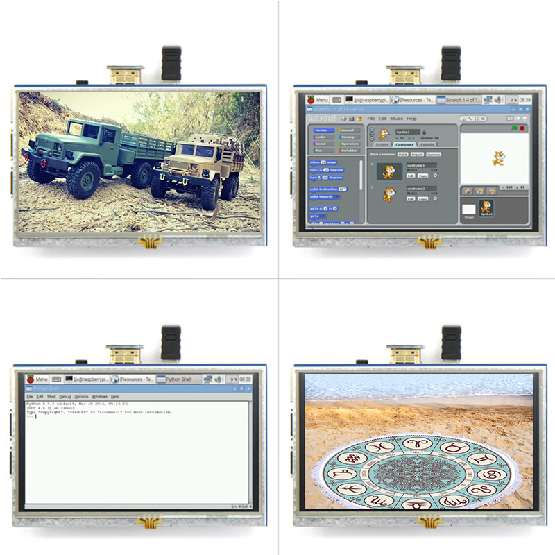 Écran tactile LCD 5 pouces 800x480 HD TFT pour Raspberry PI 3 modèle B/2 modèle B/A + LCC77