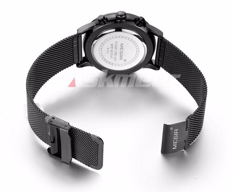 Megir Brand Men's Watch Clock reloj hombre Luxury Stainless Steel Mesh Strap Business Quartz Wristwatch Mens Watches (7)