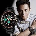 Sports Men Full Steel Watches Analog Digital Clock Quartz 100% Real Chronograph Clock Fashion Luminous Male Relojes 3ATM NW765