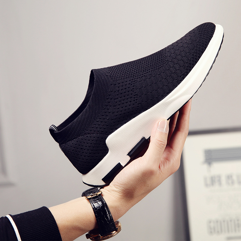 2019 new flying woven fabric sports style casual shoes trend breathable mesh sports shoes mens solid color running shoes men2019 new flying woven fabric sports style casual shoes trend breathable mesh sports shoes mens solid color running shoes men