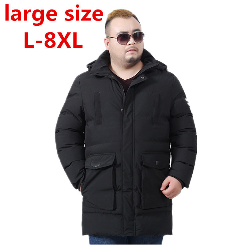 large size 8XL winter warm Jackets for men hooded coats casual mens thick coat male slim casual cotton padded down outerwear hot