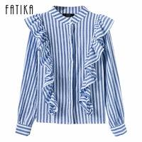 FATIKA 2017 Fashion Women Spring Autumn Women Chiffon Blouse Stand Ruffles Long Sleeve High Street Striped