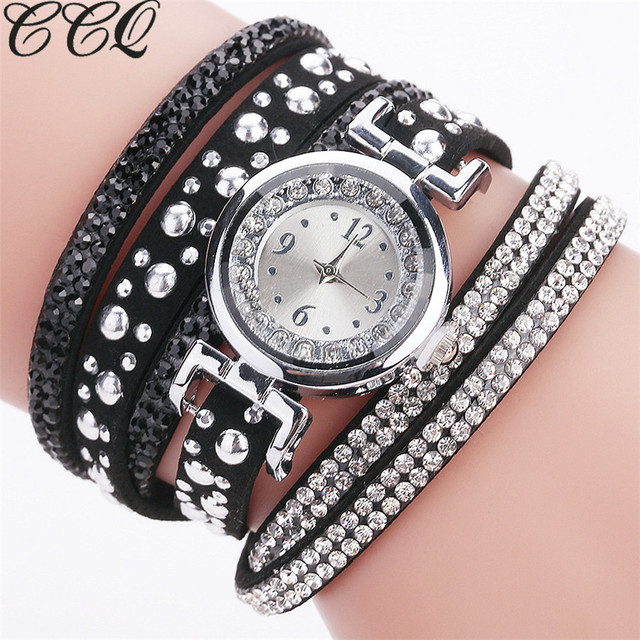 CCQ Top Brand Fashion Luxury Rhinestone Bracelet Watch Women Quartz Watch Ladies