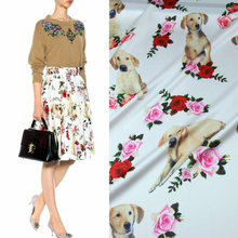 145cm puppy rose print fashion fabric smooth childrens clothing dress scarf material wholesale cloth