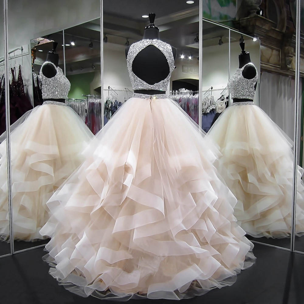 Sexy De Dos Pieza Vestidos 2019 Nuovo Elegante En Rilievo Pesante Sin Respaldo Puffy  Africano Due Pezzi Vestidos De Baile
