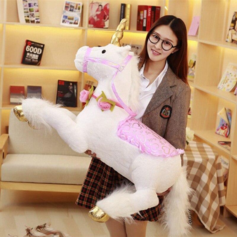 1 pc 100 cm grand Kawaii Licorne Cheval Poupées En Peluche Coloré En Peluche Animal Jouet pour Enfants Enfants Cadeau D'anniversaire Créatif pour Les Filles