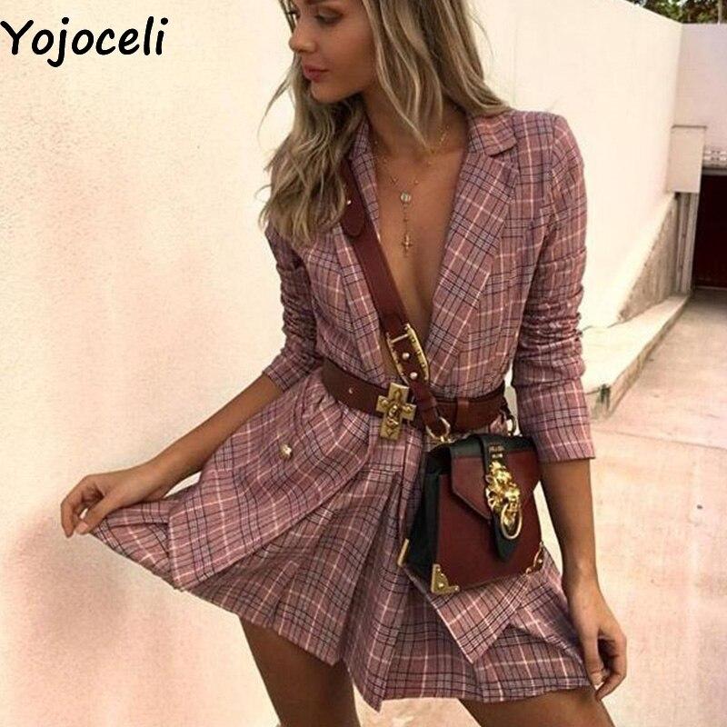 Yojoceli Elegant pockets plaid office ladies blazer Turn down collar suits blazer jackets female Casual basic blazer women