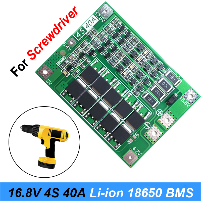 4S 40A Li-ion Lithium Battery 18650 Charger PCB BMS Protection Board with Balance For Screwdriver 14.8V 16.8V Lipo Cell Module image
