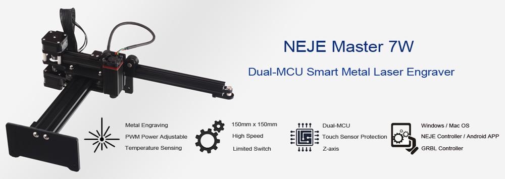 NEJE Master 7W High Speed Mini CNC Laser Engraving Carving Machine for Metal with Laser Cutting 8