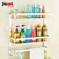 Estante de aluminio para baño jieshalang Space, estante de baño, soporte para champú, estante de esquina, soporte de toalla negro multifuncional