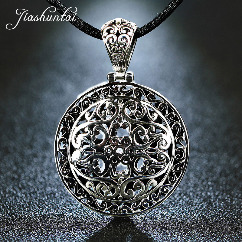 JIASHUNTAI Retro 925 Silver Sterling Big Pendant Necklace Round Hollow Carved Large Medal Silver Jewelry For Women and Men chic silver round frame and hollow out design sunglasses for women