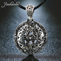 925 Retro Round Hollow Carved Silver Pendant Pendant Hanging Large Sweater Chain Exaggerated Male And